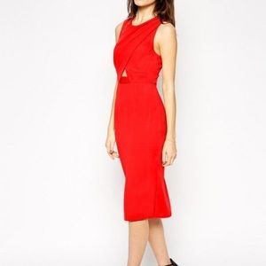 ASOS Red Cross front cut out pencil dress